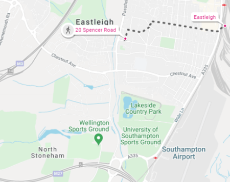 Spencer Road Map to Eastleigh Town & Train Station